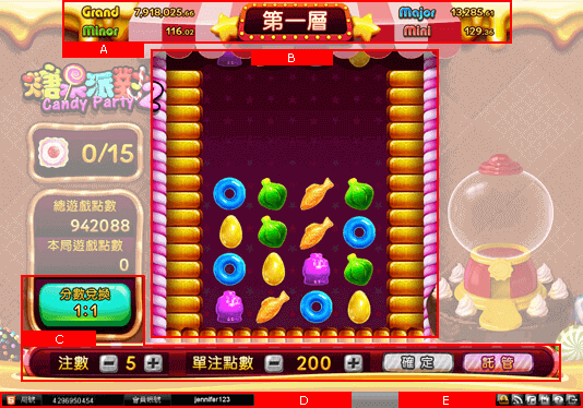 Candy Party2 Main Game Screen